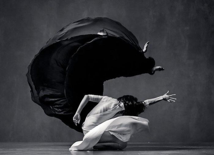 Retratos en blanco y negro de bailarines elegantes atrapados en un movimiento cautivador.